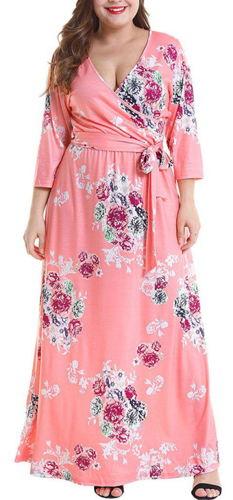V Collar Waistband Printing Long Dress - WATERMELON PINK 2XL