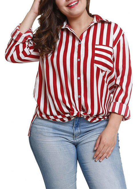 Loose Stripe Long Sleeve Blouse - FIREBRICK 3XL