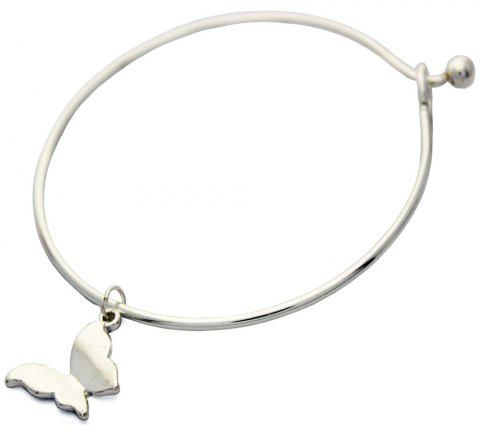 Fashion Simple Butterfly White Gold Bangle - SILVER