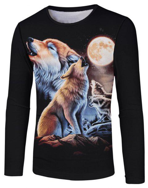 3D Wolf Print Fashion Casual Men's Long Sleeve T-shirt - multicolor B S