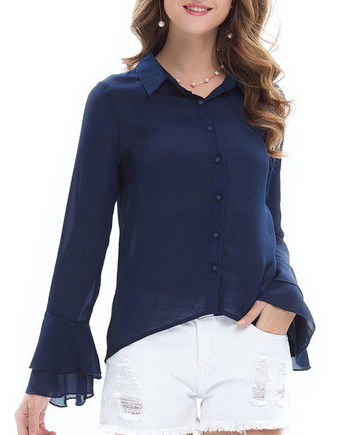 Women's Long-Sleeved Cardigan Lapels Ruffled Sleeve Chiffon Shirt - CADETBLUE S