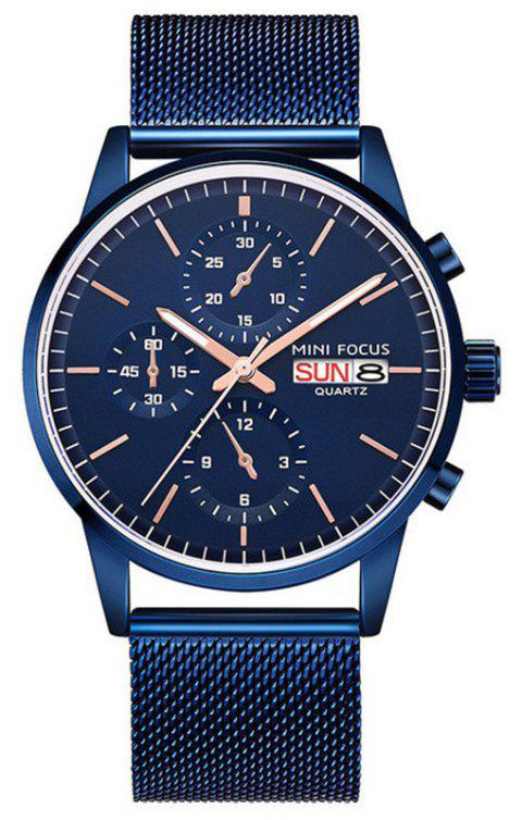 MINI FOCUS Stainless Steel Strap Quartz Fashion Mens Watches Top Brand Luxury - BLUE