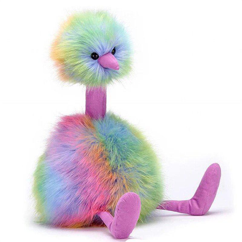 Colorful Rainbow Feathers Ostrich Cosplay Plush Toys Baby Doll - multicolor 55CM