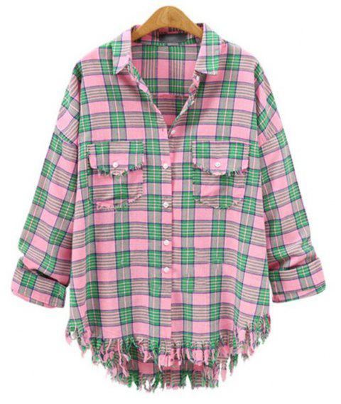 Plus Size 2018 Summer New Checked Shirt - PINK 3XL
