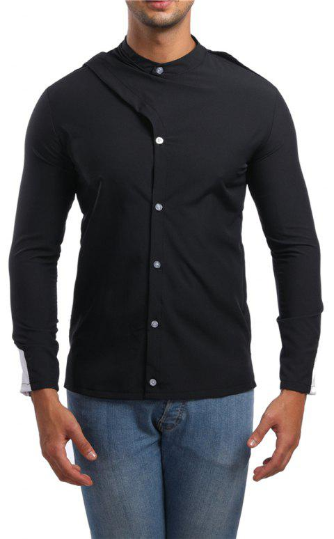 Men's Stand Collar Asymmetric Long Sleeve Shirt - BLACK XL