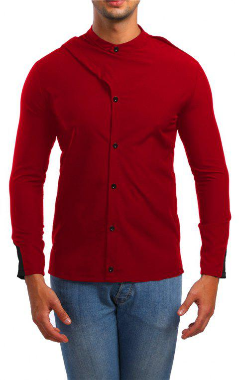 Men's Stand Collar Asymmetric Long Sleeve Shirt - RED XL