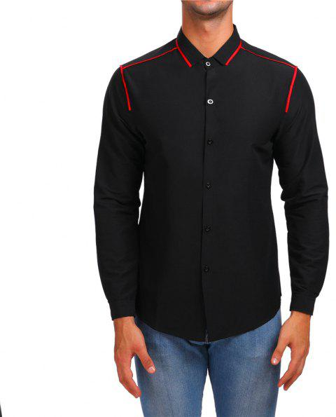 Men's Stripe Long Sleeve Lapel Contrast Shirt - BLACK S