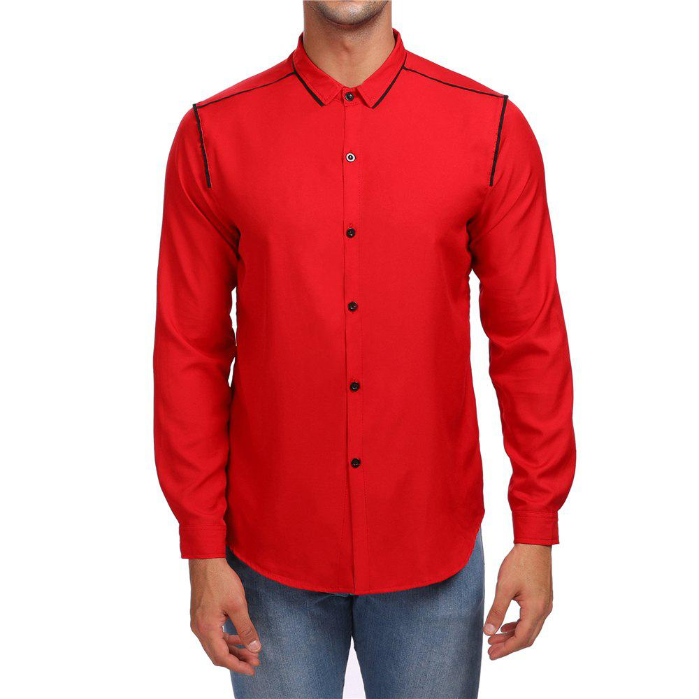 Men's Stripe Long Sleeve Lapel Contrast Shirt - RED M