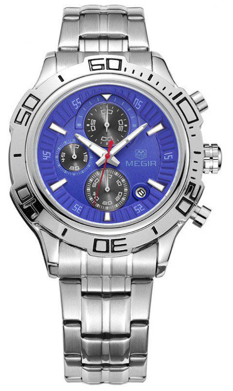 Megir Men's Full Steel Business Chronograph Function Quartz Watch - BLUE