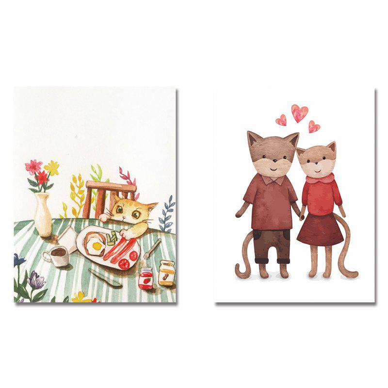 2PCS Cute Cartoon Food Kitten Print Art - multicolor