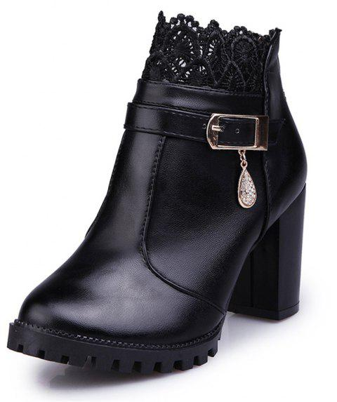 Fashion High Heel Lace Water Resistant Table Female Boots - BLACK 38