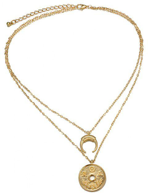Coin Moon Horn Combination Double Necklace - GOLD