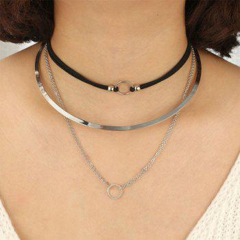 Personality Circle Necklace Collar Set - SILVER