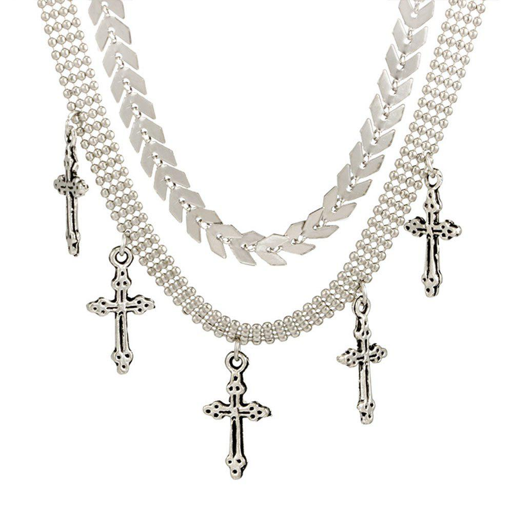 Double Bead Chain Cross Pendant Necklace Suit - SILVER