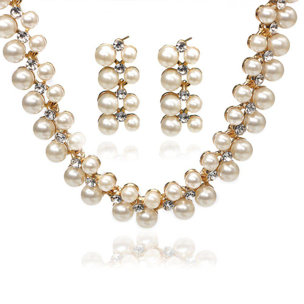 Pearl Diamond Double Necklace Set - GOLD