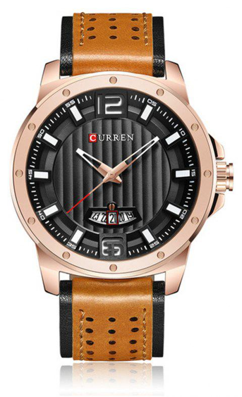 CURREN 8293 Brand Luxury Waterproof Date Top Leather Band Men Watch - multicolor E