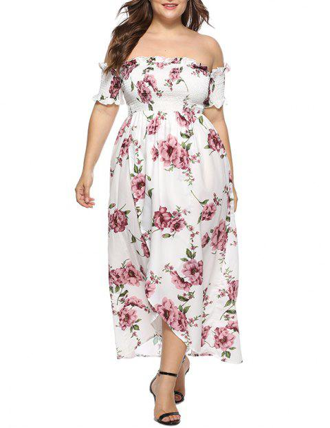 Off Shoulder Stringy Selvedge Printing Dress - WHITE XL