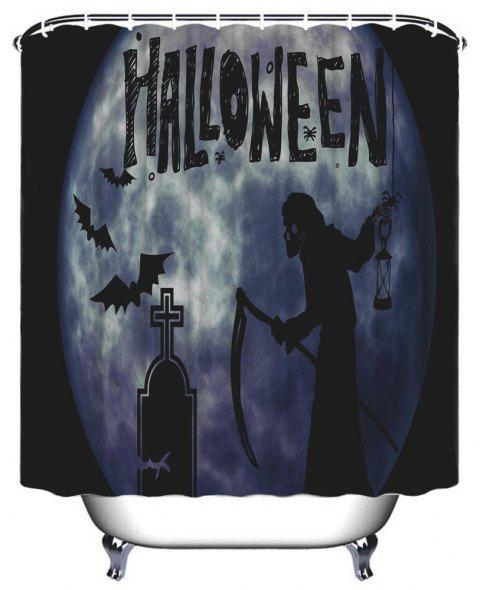 Halloween Witch Bathroom Polyester Printed Waterproof Shower Curtain - NIGHT W71 INCH * L71 INCH