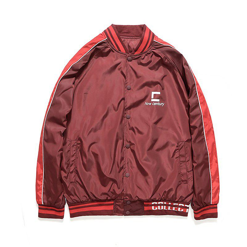 Men's Fashionable Casual Autumn Jacket - RED WINE L