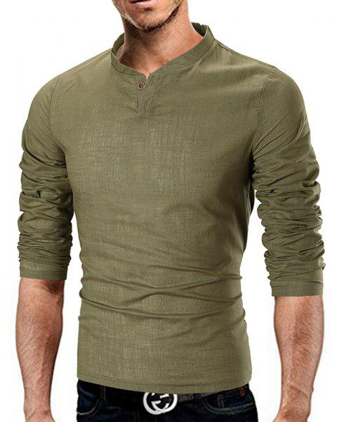 Men's Fashion Simple Solid Color Stand Collar Cotton and Linen Casual T-shirt - ARMY GREEN L