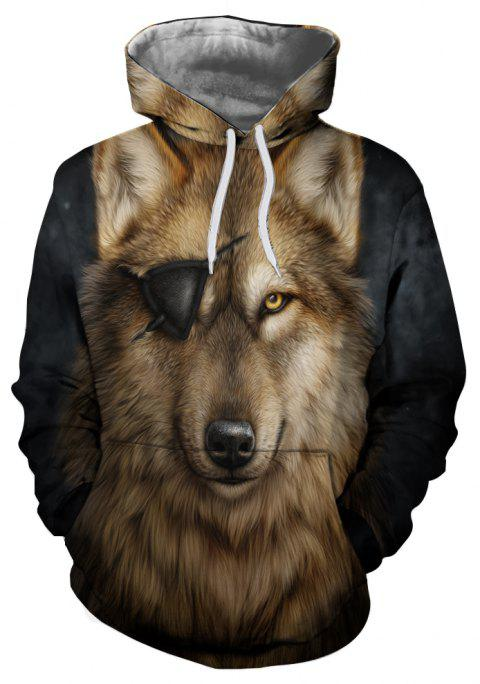 Autumn and Winter 3D Wolf Digital Print Thermal Transfer Men's Hoodie Sweater - multicolor F 3XL