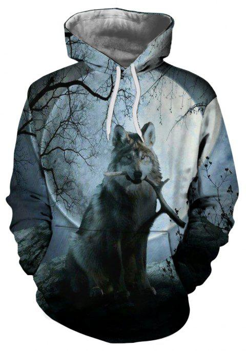 Autumn and Winter 3D Wolf Digital Print Thermal Transfer Men's Hoodie Sweater - multicolor G 3XL