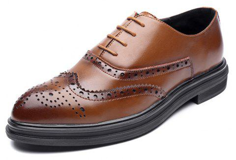 MUHUISEN Classic Mens Business Casual  Sharp Head Single Shoes - LIGHT BROWN 38