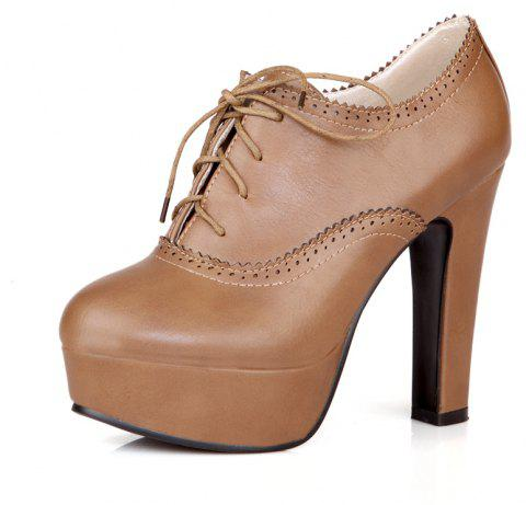 High Heeled Lace Women'S Shoes - BROWN 37