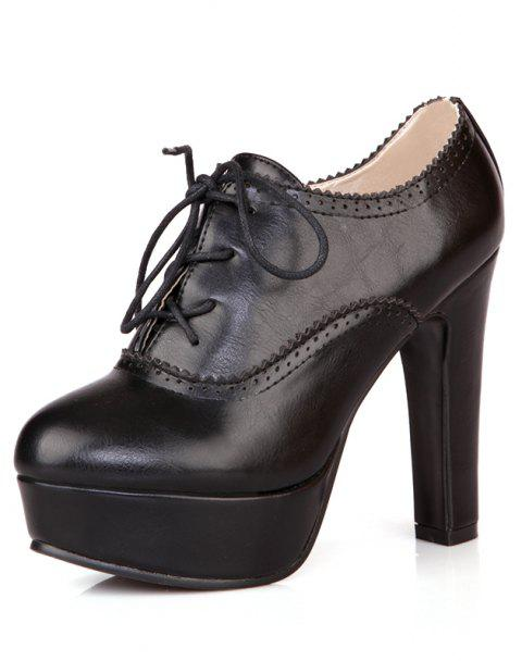 High Heeled Lace Women'S Shoes - BLACK 35
