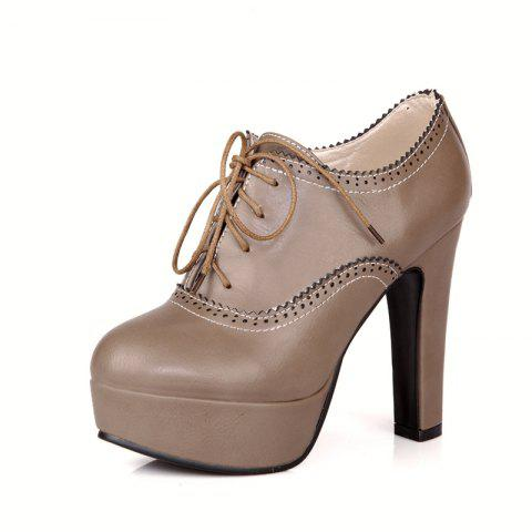 High Heeled Lace Women'S Shoes - GRAY 37