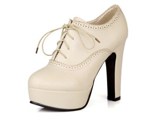 High Heeled Lace Women'S Shoes - SILK WHITE 34