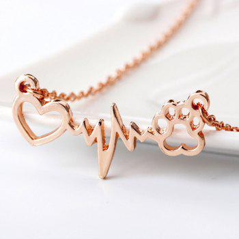 Bear's and Dog's Foot Print Electrocardiogram Necklace - ROSE GOLD