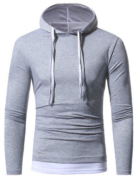 Solid Color Double-layer Cap Men's Casual Slim Long-sleeved T-shirt - LIGHT GRAY M