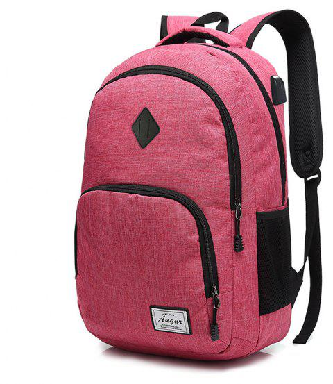 AUGUR Men Women Backpacks USB Charging Male Casual Travel Teenager Student School Notebook Laptop Bag - ROSE RED VERTICAL