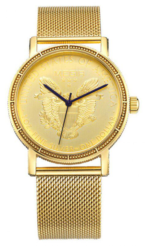 Megir Mens Fashion Gold Quartz Round Dial Stainless Steel Strap Wristwatch - GOLD