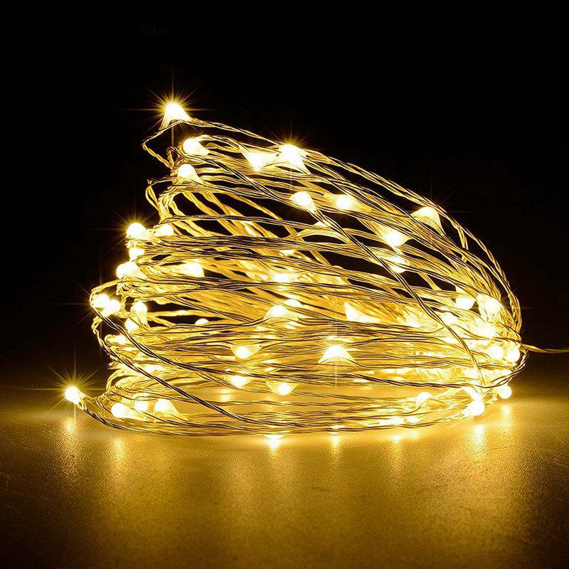 Battery Operated Garland Indoor Outdoor Home Christmas Decoration Strip Light - WARM WHITE