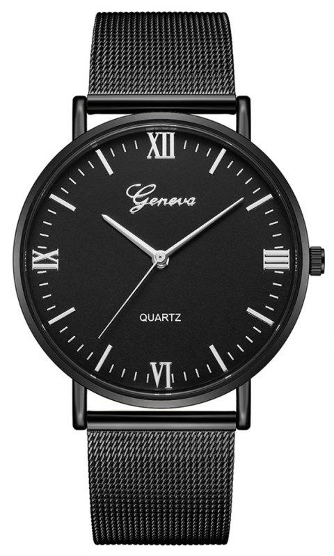 GENEVA Fashion Vintage Large Dial Creative Stainless Steel Cool Quartz Watch - BLACK