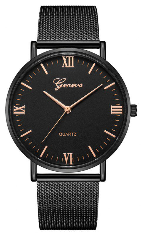 GENEVA Fashion Vintage Large Dial Creative Stainless Steel Cool Quartz Watch - NATURAL BLACK
