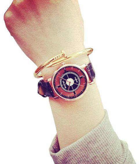 Fashion Hollow Engraving New Design Leather Analog Casual Wrist Watch - BLACK