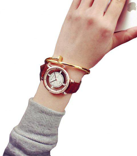 Fashion Hollow Engraving New Design Leather Analog Casual Wrist Watch - ROSY FINCH