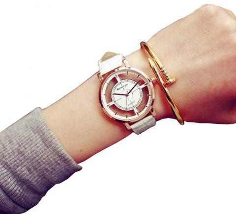 Fashion Hollow Engraving New Design Leather Analog Casual Wrist Watch - MILK WHITE