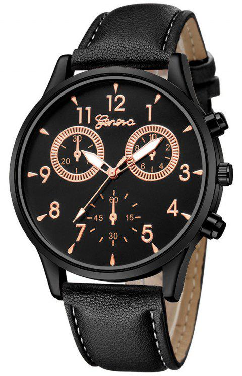 GENEVA New Design Creative Men Casual Business Leather Analog Dress Watch - BLACK