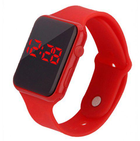 Fashion Large Dial LED Big Number Rubber Casual Sport Wrist Watch - RED