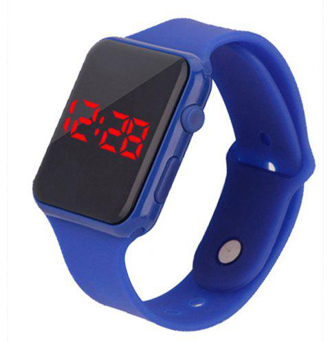 Fashion Large Dial LED Big Number Rubber Casual Sport Wrist Watch - LAPIS BLUE