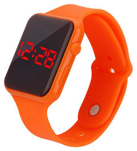 Fashion Large Dial LED Big Number Rubber Casual Sport Wrist Watch - ORANGE