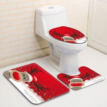 Flannel Christmas Fawn Printing Water-Absorbing Non-Slip Toilet Three-Piece Set - multicolor 43CMX38CM,40CMX50CM,50CMX80CM