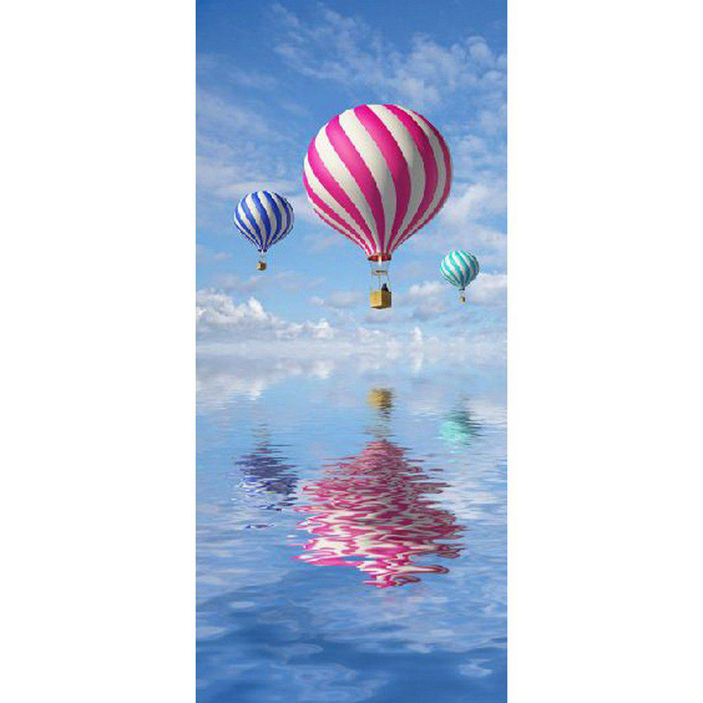 MailingArt 3D HD Canvas Print Door Wall Sticker Mural Home Decor Hotair Balloon - multicolor 77X200CM