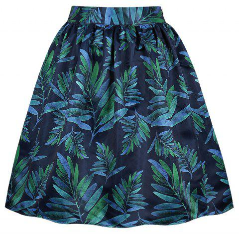 Plus Size Leaves of Printing Pocket Skirt - GREENISH BLUE 4XL