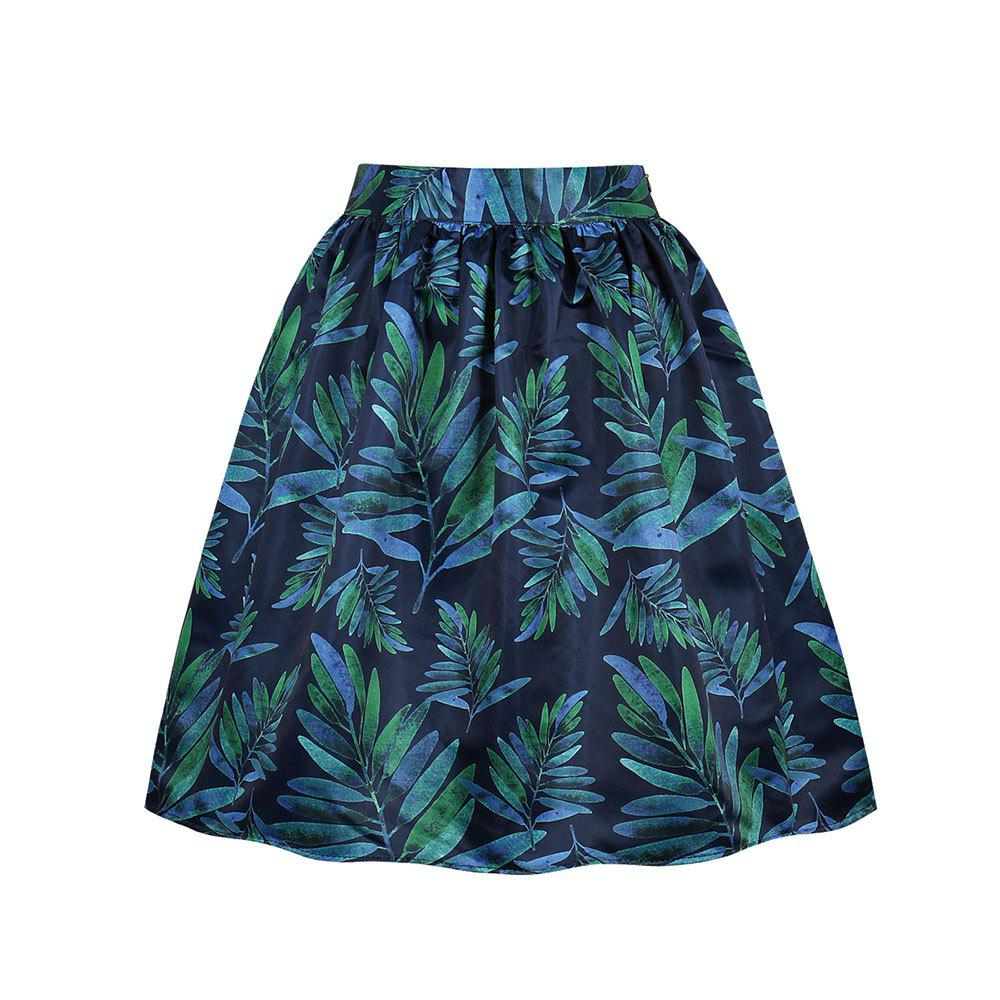 Plus Size Leaves of Printing Pocket Skirt - GREENISH BLUE 2XL