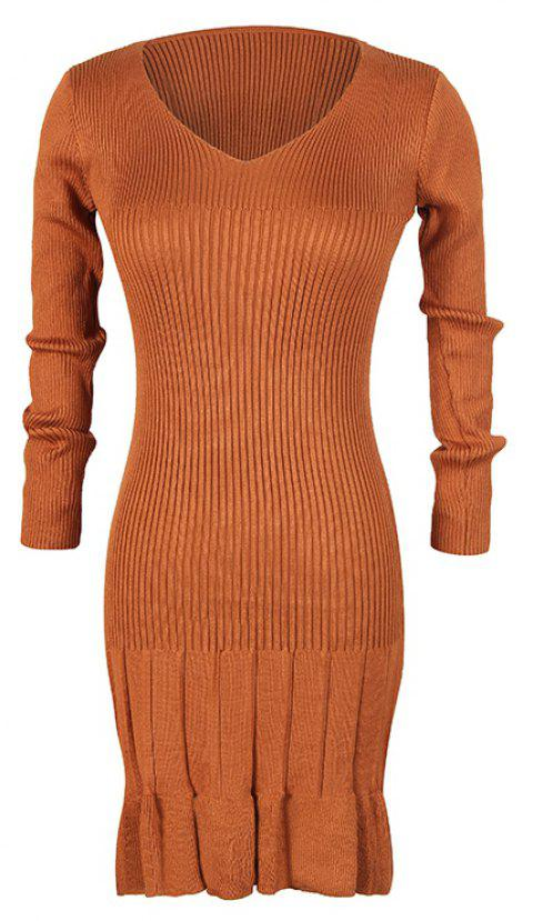 Women's V-Neck Long-Sleeved Pleated Bottoming High-Elastic Knit Dress - BROWN ONE SIZE
